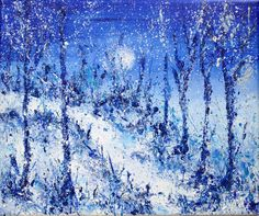 Winter Woodland Walk, acrylic on canvas. See more at https://www.artfinder.com/tina-hiles