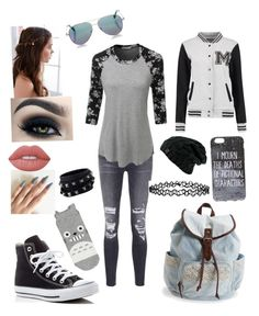 """""""Wallflower"""" by aribella-lucker ❤ liked on Polyvore featuring J Brand, LE3NO, Converse, Aéropostale, Cutler and Gross, REGALROSE, Lime Crime, Accessorize and Valentino"""