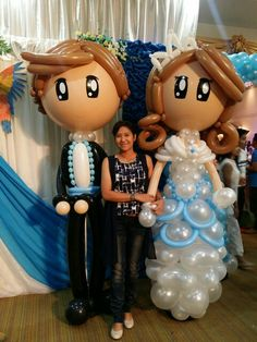Balloon wedding - Large Bride and Groom Sculptures
