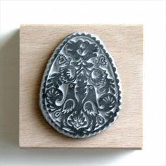 Egg shaped folk art hand carved stamp