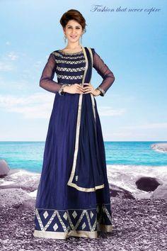 Occasional Wear Blue Color Designer Gown