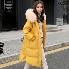 3086ecc78108f Winter Jacket Women Fur Collar Duck Down Long Parkas Coat Female Large Real  Raccoon Fur Hooded