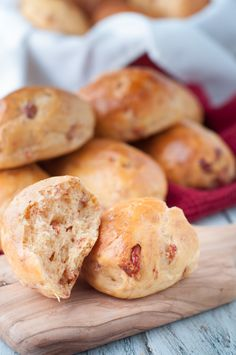 "Portuguese Chouriço Buns (Pão de Chouriço). These chouriço buns are a twist on traditional chouriço bread and are a perfect ""on the go"" or event snack! They're soft and full of Portuguese chouriço flavour."