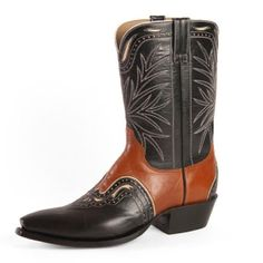 Black & Tan Kangaroo Leather Cowboy Boots
