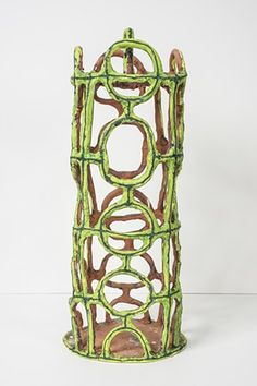 "Elisabeth Kley #ceramics #earthenware [""lime birdcage with circles"", 2015]"