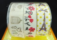 Cotton Fabric Cloth Tape Adhesive Ribbon Cute Designs 3 Rolls A Scrapbook Craft Art Label Decoration Wrapping Eiffel Tower Flower