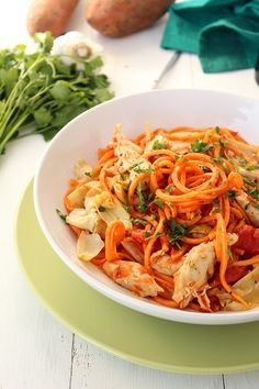 Tomato Sweet Potato Noodles with Chicken