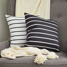 Black and White Pillows / Striped Pillows / Tan Throw / Grey Living Room Chair