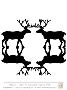Free Reindeer CLipart Silhouettes for Printable Reindeer Crafts at www.milliande-printables.com Great Black Silhouettes of Reindeer Free to Print LOVE IT !!!
