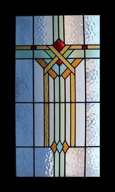 FABULOUS LARGE ART DECO STAINED GLASS WINDOW