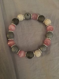 Grey and pink lava bead bracelet for essential oils