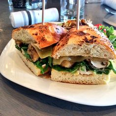 Urban Table - Join us for #lunch today and try this Chef Creation! Fried baby portabella sandwich served with a side of greens