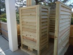 Outdoor Shower Enclosure Ideas : Convert an Outdoor Shower . Unique Traditional Bathroom Listings Summary With Pine Wood . Pet-friendly North Cape Home with Private Pool and Rooftop Deck offering Views slats for privacy bathroom, Extraordinary Design Of O Outdoor Pool Shower, Outdoor Baths, Outdoor Bathrooms, Cottage Showers, Outdoor Spaces, Outdoor Living, Outdoor Shower Enclosure, Outside Showers, Beach Shower