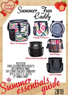 Graphic for VIP Facebook group or party. Summer fun Caddy Summer essentials product spotlight. Thirty-One spring/summer 2018