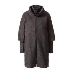 Materialmix-Mantel mit Wolle #zerofashion