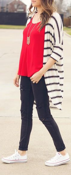 Red, black, and white outfit. Cute.