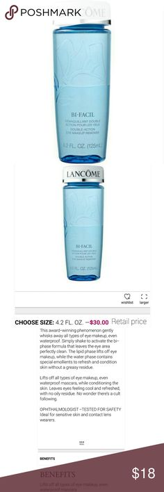 Lancome Bi-Facil Double-Action Eye Makeup Remover New! Lancome 4.2 FL. OZ. Double-Action eye makeup remover lift off all types of eye makeup, even waterproof mascara, while conditioning the skin.  Ideal for sensitive skin and contact lenses wearer.  New without box.   *Bundle and Save! lancome  Makeup