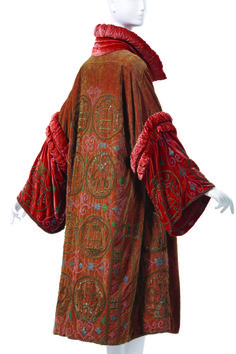 Gorgeous quilted and ruched red silk velvet coat... Madame Havet Evening Coat, 1928