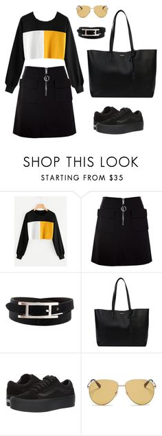 """Black & Yellow #2"" by taesguccicase ❤ liked on Polyvore featuring Dondup, Hermès, Yves Saint Laurent, Vans and Gucci"