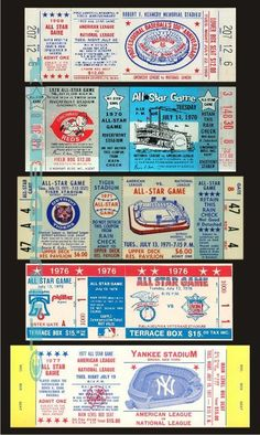These tickets are printed on Matte photo paper. The backs of the tickets are white. Baseball Tickets, Football Ticket, Game Tickets, Ticket Stubs, Knute Rockne, Japan Baseball, Billy Williams, Mlb Detroit Tigers, Bill Russell
