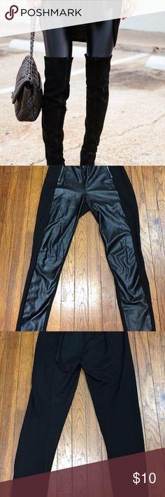 Faux Leather Leggings Faux leather front panel leggings H&M Pants Leggings