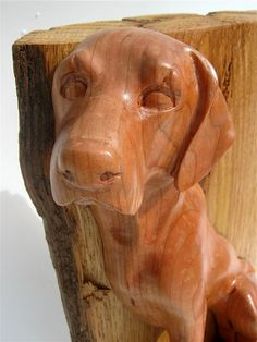 Wood Dog Sculpture  Hand Carved Labrador In Cherry             By GleasonsWoodWorking