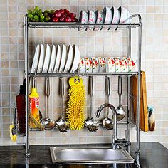 2 Shelf Dish Drying Rack Over Sink Kitchen Drainer Holders Organizer Space  Saver