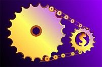 Illustration of two gears connected by chain