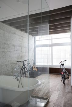 LOVE the shower/tub combo! Must have this when I install my tub like that!