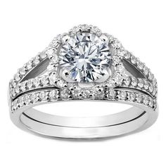 Diamond Floral Split Band Engagement Ring and Wrap Wedding Ring