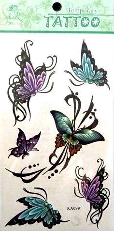 Sex Colorful Flying Butterfly Waist Arm Neck Tattoo Sticker Ka099