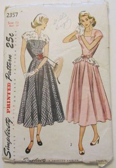 Vintage Sewing Pattern 1950's Party Dress * Rockabilly Full Skirt Sz 15