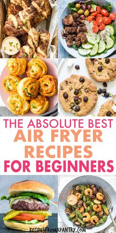 Whether you're brand new to air fryers or a expert air frying pro, you will absolutely love this collection of the easy Air Fryer Recipes For Beginners. From main dishes, sides and snacks to breakfasts and sweet treats, every dish included is quick, easy and tastes amazingly delicious. Click through to get these awesome best air fryer recipes!! #airfryer #airfryerrecipes #airfryerrecipesforbeginners #easyairfryerrecipes #quickairfryerrecipes Air Fryer Recipes Vegan, Air Frier Recipes, Air Fryer Dinner Recipes, Air Fryer Healthy, Lunch Recipes, Appetizer Recipes, Breakfast Recipes, Cooking Recipes, Food Dishes