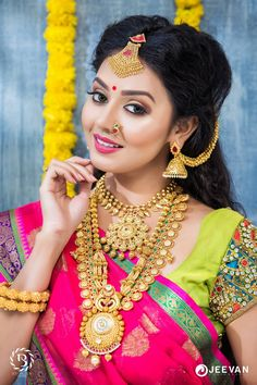 bridal jewelry for the radiant bride Beautiful Saree, Beautiful Bride, Beautiful Lips, Bridal Looks, Bridal Style, Make Up Videos, Indian Bridal Fashion, Jewelry Model, South Indian Bride