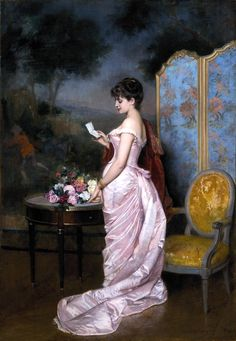 """""""The Love Letter"""" by French painter Auguste Toulmouche, In private collection 💖 Victorian Paintings, Victorian Art, Victorian Gown, Classic Paintings, Beautiful Paintings, Renaissance Kunst, Classical Art, Fine Art, Love Letters"""