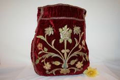 Wealthy Woman's Workbag in Velvet with Stumpwork, c1720