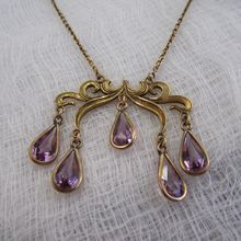 Extraordinary Edwardian Amethyst Glass Drop Necklace, 1910