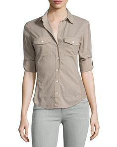 James Perse Contrast-Panel Tab-Sleeve Blouse, Fume New offer @@@ Price :$145 Price Sale $99