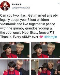 If only Namjin would become a official reality. Bts Memes, Vkook Memes, Funny Memes, Namjin, Taekook, K Pop, Got7, Taehyung, Kookie Bts