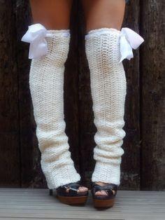 Thigh High Leg Warmers - Soft White - Long Leg Warmers - Over the Knee Leg Warmers - Winter Leggings - Socks - Crochet Leg Warmers, Crochet Slippers, Knit Crochet, Chrochet, Thigh High Leg Warmers, Loafers With Socks, Over Boots, Little Presents, Girls Soccer