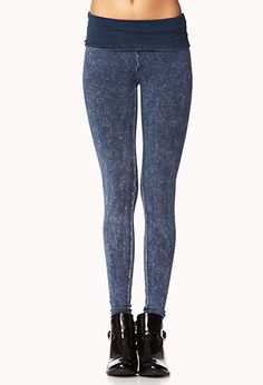 Acid Wash Fold-Over Leggings | FOREVER21 - 2055606515