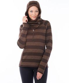 This Chocolate Stripe Cascade Hoodie is perfect! #zulilyfinds