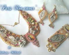 "Parure ""Paris mon amour"" consists of necklace, bracelet and earrings. Made entirely by hand with silk shibori."