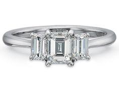 Emerald Cut Three Stone Engagement Ring