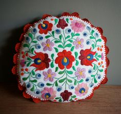 vintage MEXICAN Flower Embroidered Round Pillow by heightofvintage