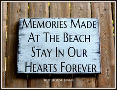 Beach Sign Beach House Decor Wall Art Wood Sign Nautical Rustic Beach Life Memories Summer Vacation Love Quotes Sayings Beachy Gift Coastal