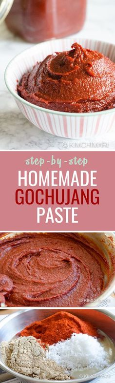 Homemade gochujang recipe that allows you to have a ready-to-eat gochujang in just a couple hours! Easy Homemade Gochujang Recipe That's Almost Instant - A staple pantry item in a Korean kitchen, this chilli paste is almost instant! Korean Dishes, Korean Food, Korean Kitchen, Asian Cooking, International Recipes, Asian Recipes, Indonesian Recipes, Asian Desserts, Gastronomia