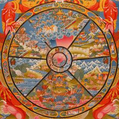 Ceci est une roue de la vie tibétaine.