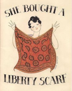 Liberty scarf advert | More on the myLusciousLife blog: www.mylusciouslife.com Retro Advertising, Vintage Advertisements, Vintage Ads, Vintage Posters, Liberty Scarf, Liberty Fabric, Liberty Print, Surface Design, Liberty Of London