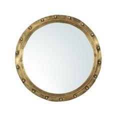 Industrial Brass Rivet Framed Port Hole Mirror - Image 1 of 2